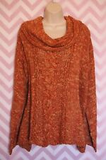 Free People Orange Loose Fit Poncho Sweater Size S Wool Boho Anthropologie