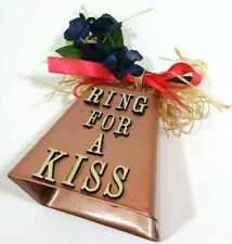 """""""Ring For A Kiss"""" Cowbell Keepsake Painted Bronze Color Metal Bell Flower Decor"""