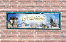 Personalized Customized Winter Wolfs Name Banner Wall Decor Poster with Frame