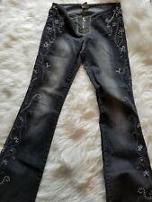 VTG Z Cavericci  Boho Embroidered Low Rise Flare Leg Jeans black sz 1-C34