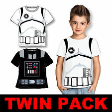 TWIN PACK CHILDRENS KIDS STAR WARS T-SHIRTS DARTH VADER & STORMTROOPER (AGE 2-3)