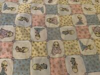 "Precious Moments Patchworks Fabric 100% Cotton Blue/Yellow/Pink 1.25 Yds X 44"" W"
