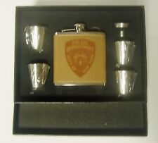 New York City Police Leather Engraved 6 oz Flask w 4 Shot Glasses and funnel