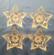 Four (4) Clear Vintage Glass Star Shaped Tapered Candle Holders