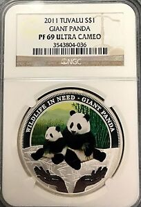 2011 NGC PF69 Tuvalu S$1 Giant Panda .999 1oz Silver Asian Coin icg anacs pcgs