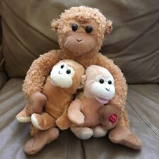 "Monkey Chimpanzee Mom Babies Singing  Dancing Plush Animated Trio 10"" Toy Lovey"