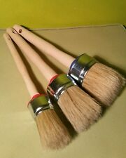 3-CHALK PAINT and WAX shabby pure bristle ROUND PAINT BRUSHES set:50mm 40mm 30mm