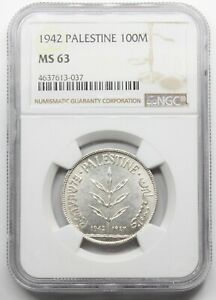 NGC-MS63 PALESTINE 1942 100 MILS SILVER COIN UNC