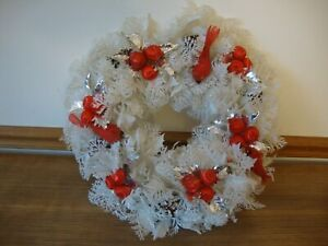 """Vtg White Plastic Christmas Wreath Holly Red Satin Balls Cardinals Pine Cone 18"""""""