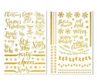 Christmas Gold Foil Glass Stickers Wine Bottle Decal Vinyl Wall Metal Craft Art