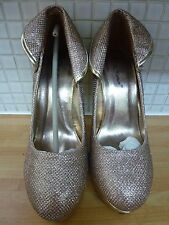 Belle Women's Very High Heel Platform Shoes Size 7/40 Gold New* Uk Freepost