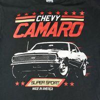 Chevy Camaro SS 350 T-Shirt Men's Medium Black Orange Super Sport Muscle Car GM