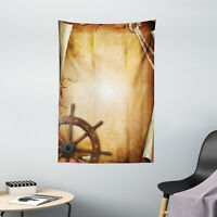 Vintage Tapestry Old Paper Effect Wheel Print Wall Hanging Decor