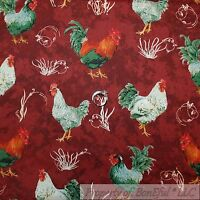 BonEful Fabric FQ Cotton Quilt Red Rooster White Green Chicken Coop Farm Feather