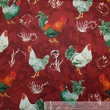 BonEful Fabric Cotton Quilt Red Rooster White Chicken Coop Farm Feather US SCRAP