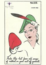 Vintage 1940's Sewing Pattern Elegant Hat Made from Oddments Millinery Large WW2