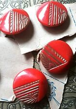 10 Vintage Antique Red Gold Metallic Buttons Shank on card NOS Pyramid