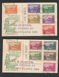 NORFOLK IS 1947 SET ON TWO SMALL air mail. FIRST DAY COVERS 10/6/1947
