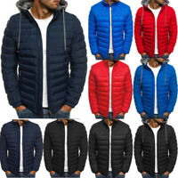 Mens Warm Padded Puffer Bubble Coat Zip Up Jacket Hooded Quilted Outwear Casual