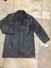 Stafford Brown Leather Car Coat Men's Medium