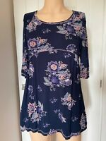 Fat Face Tunic Dress Top UK Size 14 Womens Ladies Navy Blue Floral Print Summer