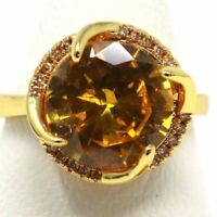 Gorgeous Round Citrine Halo Ring Women Anniversary Jewelry Yellow Gold Plated