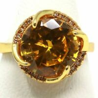 Gorgeous Round Citrine Halo Ring Women Anniversary Jewelry Gift 14K Yellow Gold