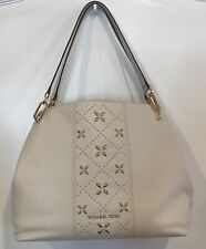 Michael Kors Women's Large Tote Bag Beige Leather Studded Details Leighton $348