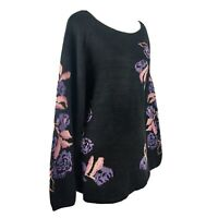 SIZE 1X Style & Co Women's Plus Black Tunic Floral Pullover Sweater Top NWT New
