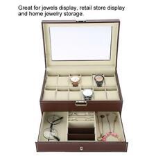 12 Slot PU Leather Watch Box Display Jewelry Case Storage Organizer Top Glass