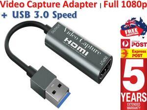 HDMI to USB 3.0 Video Capture Card Adapter 1080P HD Recorder Box Fits Mac Window