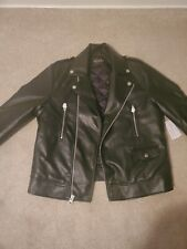 Guess Moto Jacket Mens Large Black Faux Leather All Aces Cards Embroidery Studs