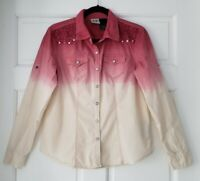 Harley Davidson Ombre Pink White Pearl Snap Shirt Studded Womens Medium Western