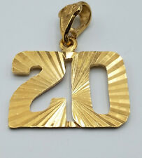 Game Day Number 20 Pendant 24k gold plated diamond-cut Team Player Number 20