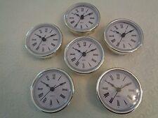 "6 PAK, 2-1/2"" (65mm) QUARTZ CLOCK FIT-UP/Insert,Silver Trim,Roman Numeral,White"