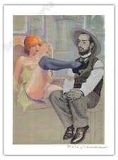 Affiche Milo MANARA Hommage à Toulouse Lautrec signé 28,5x38 cm