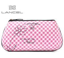 Lancel Paris Le Brigitte Bardot White Pink Checker Cosmetic Bag Makeup Case