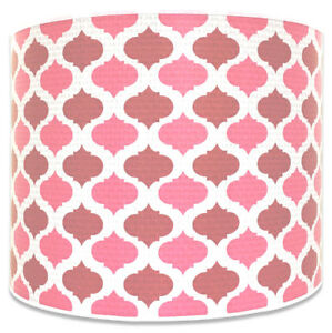 Royal Designs Pink Mediterranean Pattern Shallow Drum Hardback Lamp Shade