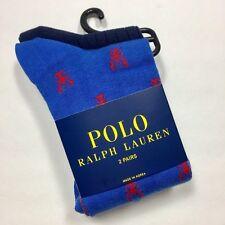 POLO RALPH LAUREN Men's Lobster Print & Solid Socks 2 PACK ROYAL BLUE/ NAVY NWT