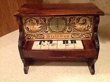 "Antique Steinway Toy Piano  Wood 6.5"" tall cherubs Instruments Working Keys!"