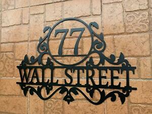 Personalized Metal Address Sign House Custom Number Street Wall Plaque Outdoor