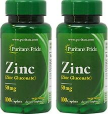 ZINC GLUCONATE 50mg IMMUNE SUPPORT ANTIOXIDANT VEGETARIAN SUPPLEMENT 200 CAPLETS