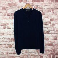 VINCE Men's Long Sleeve Henley Shirt Navy Blue Cotton Sz Small