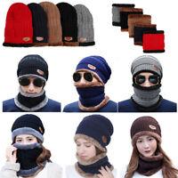 Womens Winter Scarf Beanie Warm Fleece Set Hat Ski Warmer Neck Cap Knit Hot