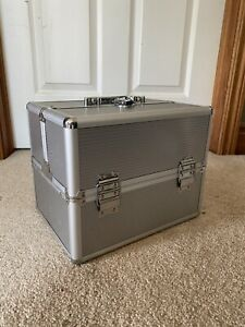 makeup travel case organizer box silver NEVER USED