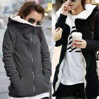 UK Size 8-26 Womens Fleece  Warm Hoody Hoodie Coat Jumper Parka Jacket Outwear