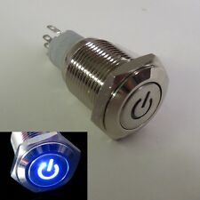 19mm 12V BLUE Led Lighted Push Button Metal ON-OFF Switch for Car Boats DIY