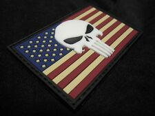 USA PUNISHER FLAG RUBBER PVC GITD SEALS MORALE VELCRO® BRAND FASTENER PATCH