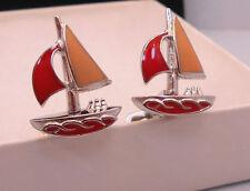 Jan Leslie Enamel & Sterling Silver Sailboat Cuff Links Stamped 925