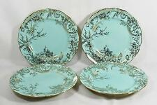222 Fifth Adelaide Turquoise & Gold Porcelain Floral Dinner Plates Set of Four